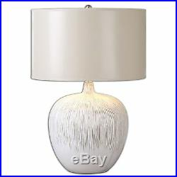 Large Textured Ivory White Table Lamp Contemporary Ceramic