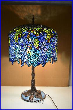 Large Tiffany Style Art Stained Glass Look 3 Light Lamp