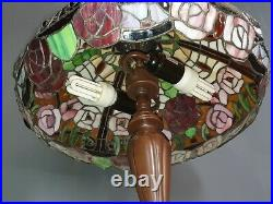 Large Tiffany Style Roses Table Lamp 24 Twin Double Bulb