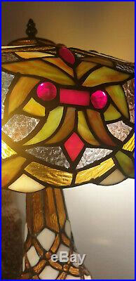 Large Tiffany Style Table Lamp Shade and Base both lit nearly 2ft in Height