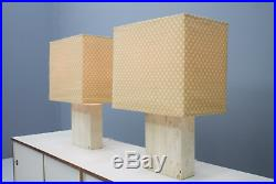 Large Travertine and Brass Table Lamps by Draenert Germany 70s Lampe 70er