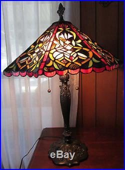 Large Victorian Style Stained Glass Table Lamp Reds 29 Tall 20 Shade Awesome