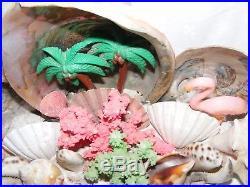 Large Vintage 60's Retro Abalone Shell Pink Flamingo Tiki Bar Table Lamp Kitsch