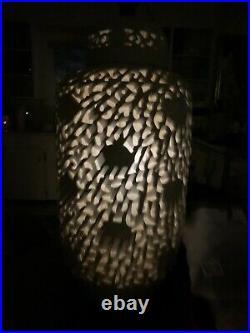 Large Vintage Blanc De Chine Table Lamp Hollywood Regency White Porcelain