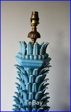 Large Vintage Casa Pupo Spanish Ceramic Pottery Vase Brass Side Table Hall Lamp