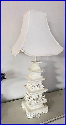 Large Vintage Chinoiserie Tiered Plaster Pagoda Table Lamp with Shade