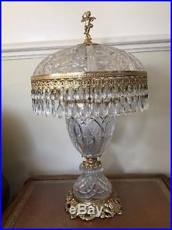 Large Vintage Crystal Drop Cut glass Czechoslovakin Table Lamp -Stunning Example