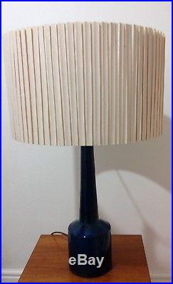 Large Vintage Irridescent Blue Ceramic Table Lamp Shade Included if Required