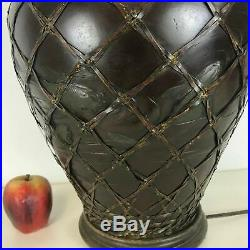 Large Vintage Japanese Bronze Vase Table Lamp With Koi Fish Relief