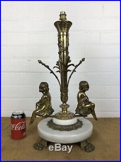 Large Vintage Marble Gilt Ormolu Brass Bass Table Lamp Base Cherub Figures