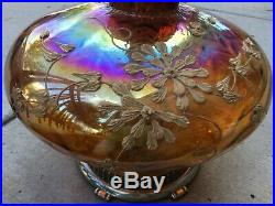 Large Vintage Mid Century Amber Glass Table Lamp Hollywood Regency 33 ht