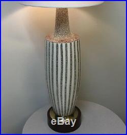 Large Vintage Mid Century Danish Modern Brutalist Textured Ceramic Beehive Lamp