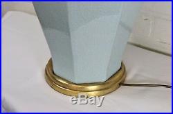 Large Vintage Oriental Chinese Table Lamp Celadon Pale Jade Green Crackle Glaze