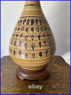 Large Vintage Pottery Ceramic Glazed Lamp Mid Century Modern Retro Wood Base