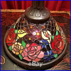 Large Vintage Stained Glass Cabbage Rose Table Lamp