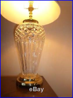 Large WATERFORD CRYSTAL GLASS LAMP 18 inch brass table lamp Nr Croydon