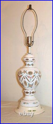 Large antique cut to clear Bohemian Czech glass electric table floral lamp white