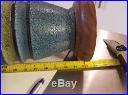 Large chalkware mid century Danish modern teak green blue table lamp mcm FAIP