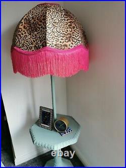 Large lampshade leopard animal print pink fringe standard lamp ceiling pendant