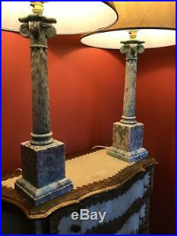Large pair Antique Vintage tall Veined Marble alabaster table lamps 59 Cm Tall