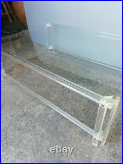 Large plexiglass and glass coffee table, 1970's furniture from the marais