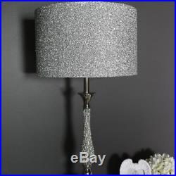 Large Polished Silver Nickel Diamante Table Lamp Glitter Shade Living Room Light