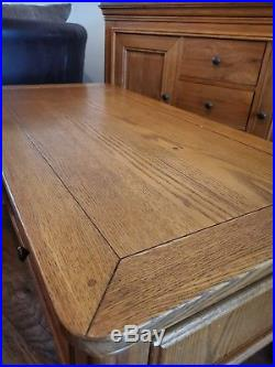 Large solid oak sideboard, coffee table and lamp table