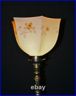 Large vintage 1940s Putti table / floor lamp marble brass bronze opaline glass