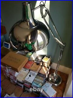 Large vintage anglepoise style floor lamp silver used good condition