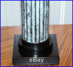 Lovely Pair Of Large Oversized Decorative Corinthian Pillar Lamps Metal Bodies