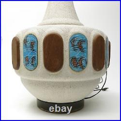 MID CENTURY MODERN Large Atomic Ceramic Inlay Textured Genie Lamp 3 Feet Tall