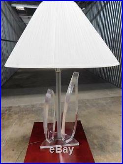 MID Century Modern Large Lucite Van Teal Style Leaf Table Lamp