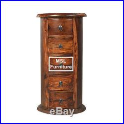 Madras Solid Sheesham Wood 5 Drawer Round Large Drum Telephone Lamp Table Unit