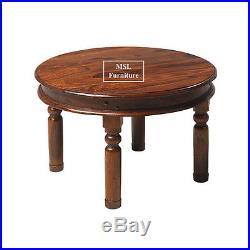 Madras Solid Sheesham Wood Jali Round Large Coffee Lamp Side Table