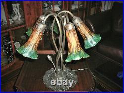 Magnificent 16,5 Tiffany-ART-NOUVEAU-Style Pond Lily Lamp w Five Coloured Bells