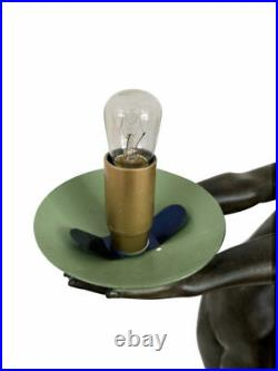 Max Le Verrier Large Illuminating Art Deco Sculpture Lamp