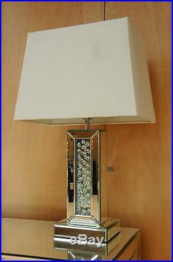 Mercury Large Table Lamp 60cm Mirrored Floating Crystal Base White Fabric Shade