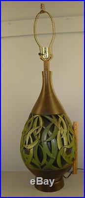Mid-century Modern Jo-wallis Large Green Leaf Art Pottery Table Lamp