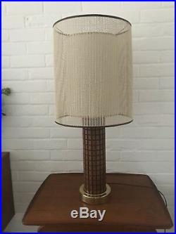 Mid century Retro Large Table Lamp, Brass Wood Cream Shade