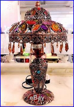 NEW LARGE MOROCCAN Table Lamp Jewel Droplet Ornate Frame Bedroom Bedside LOUNGE