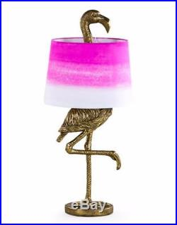 NEW Large Antique Gold Flamingo Lamp Floor or Table with Pink Fade Shade 81cm