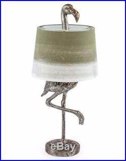New Large Antique Silver Flamingo Lamp Floor Or Table With Sage
