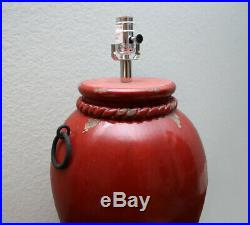 NEW Pottery Barn COLBERT TABLE LAMP BASE RED Glazed Ceramic Antiqued Large RARE