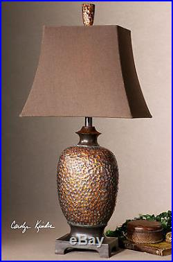 New Large 33 Aged Bronze Gray Glaze Table Lamp Brown Linen Shade Tuscan Light