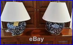 New Ralph Lauren Lotus Flower Porcelain Ginger Jar LARGE FLORAL Lamp BLUE WHITE