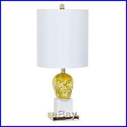 New Skull Table Lamp Large Silk Shade Rich Gold Mercury Glass Light