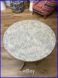 OKA Style Solid Hardwood Custom Made Large Round Turned Pedestal Table Hall Lamp