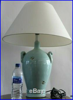 OKA dalat table lamp Pair Large turquoise ceramic Table Lamps cream Shades