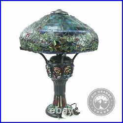 OPEN BOX River of Goods Tiffany Style Turtleback Lamp Green High Stained Glass