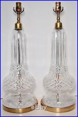 PAIR Vtg WATERFORD CRYSTAL Table Lamps Hollywood Regency Brass TALL Large 25